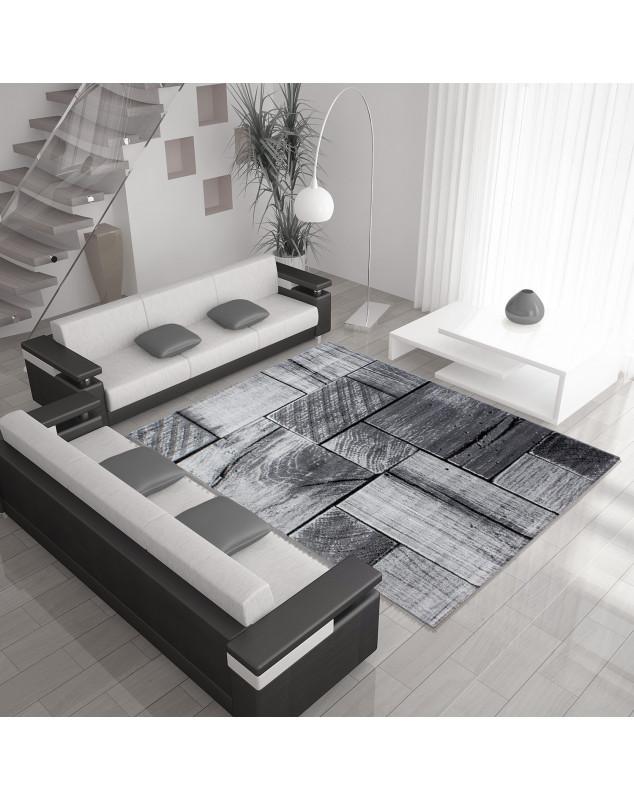 moderne salon tapis avec effet bois parme noir gris taille 80x150 cm