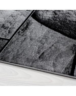 moderne salon tapis avec un motif en pierre parme 9250 noir gris