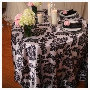 Black and white satin damask