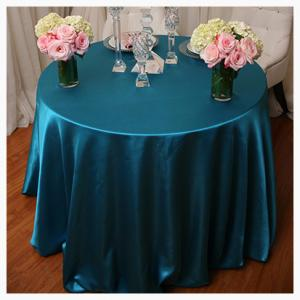 Peacock blue satin tablecloths