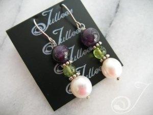 Liza Amethyst Peridot and Pearl Earring