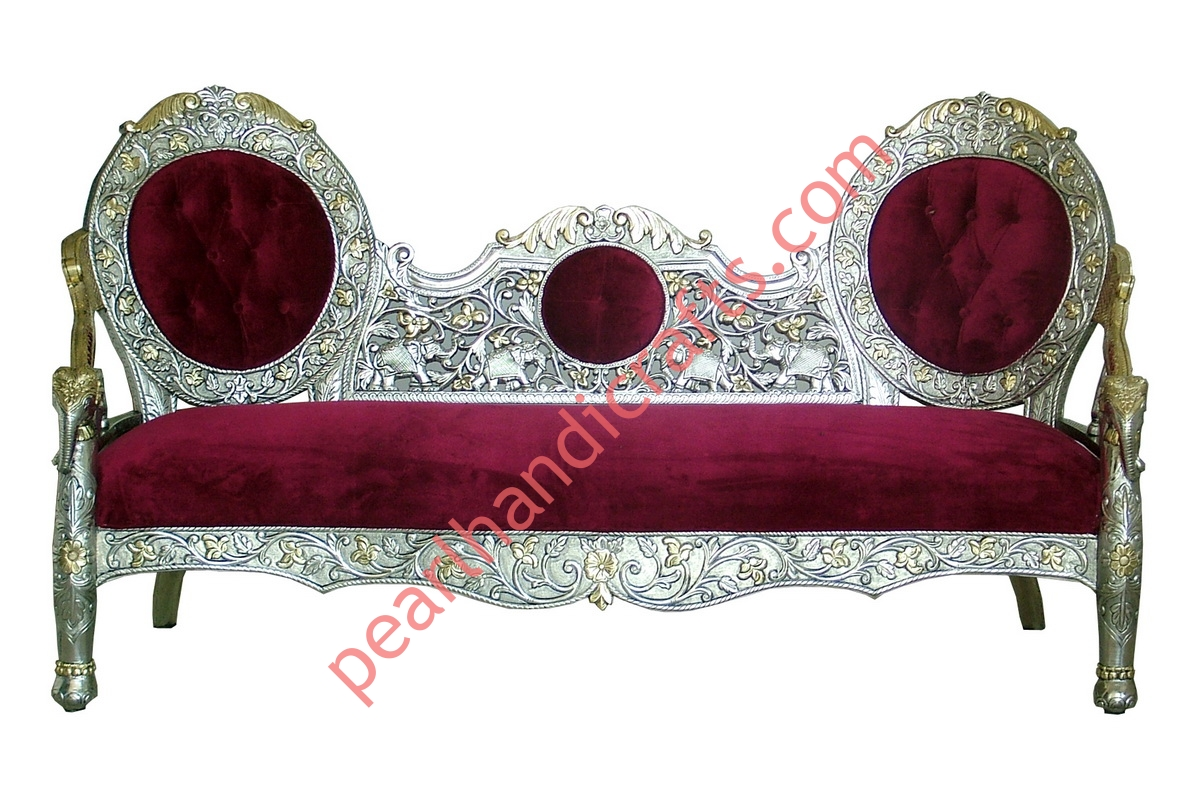 steel sofa set online chennai castle brown silver metal carved wood for home pearl