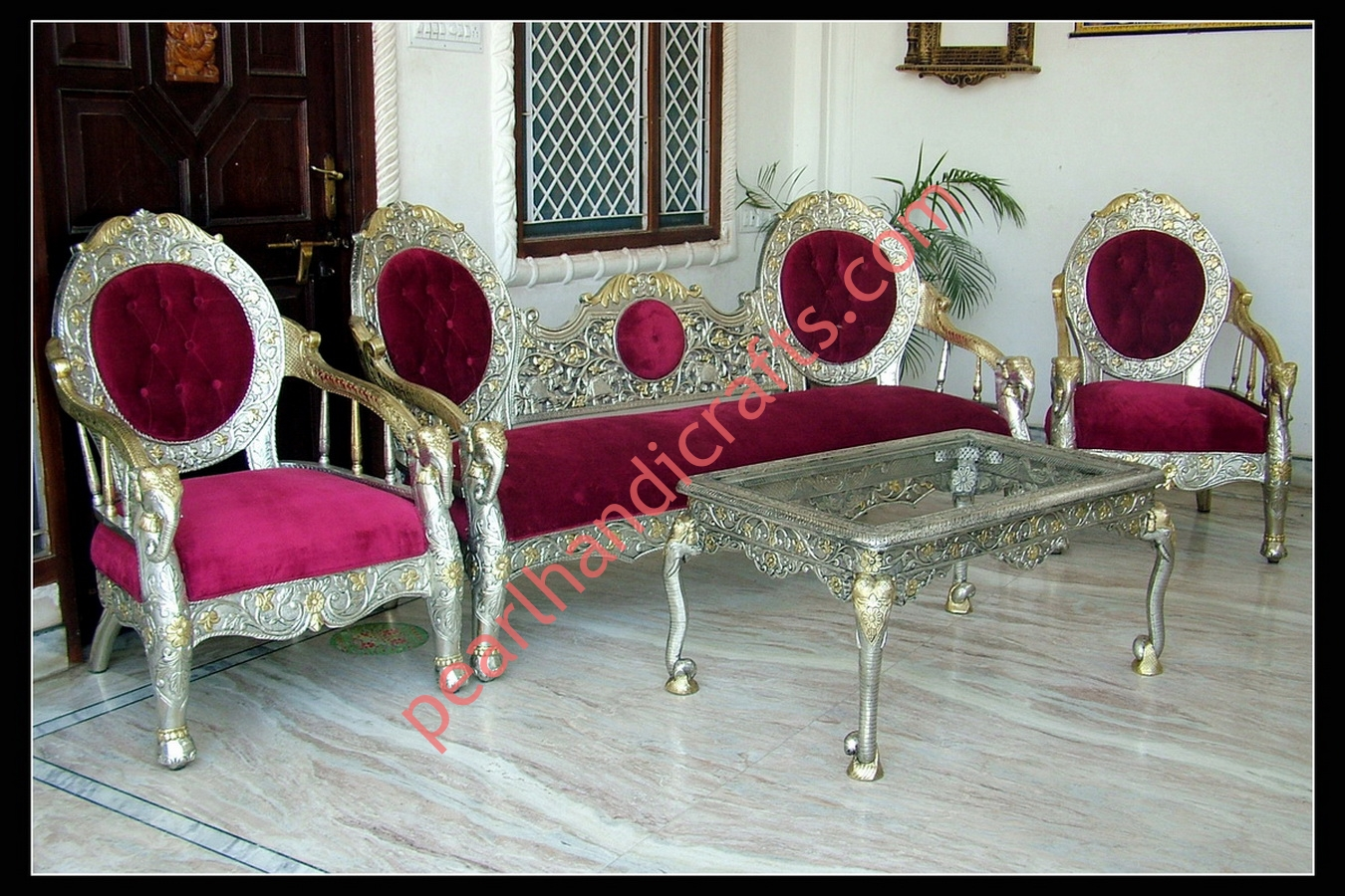 steel sofa set online chennai leather wood silver metal carved for home pearl