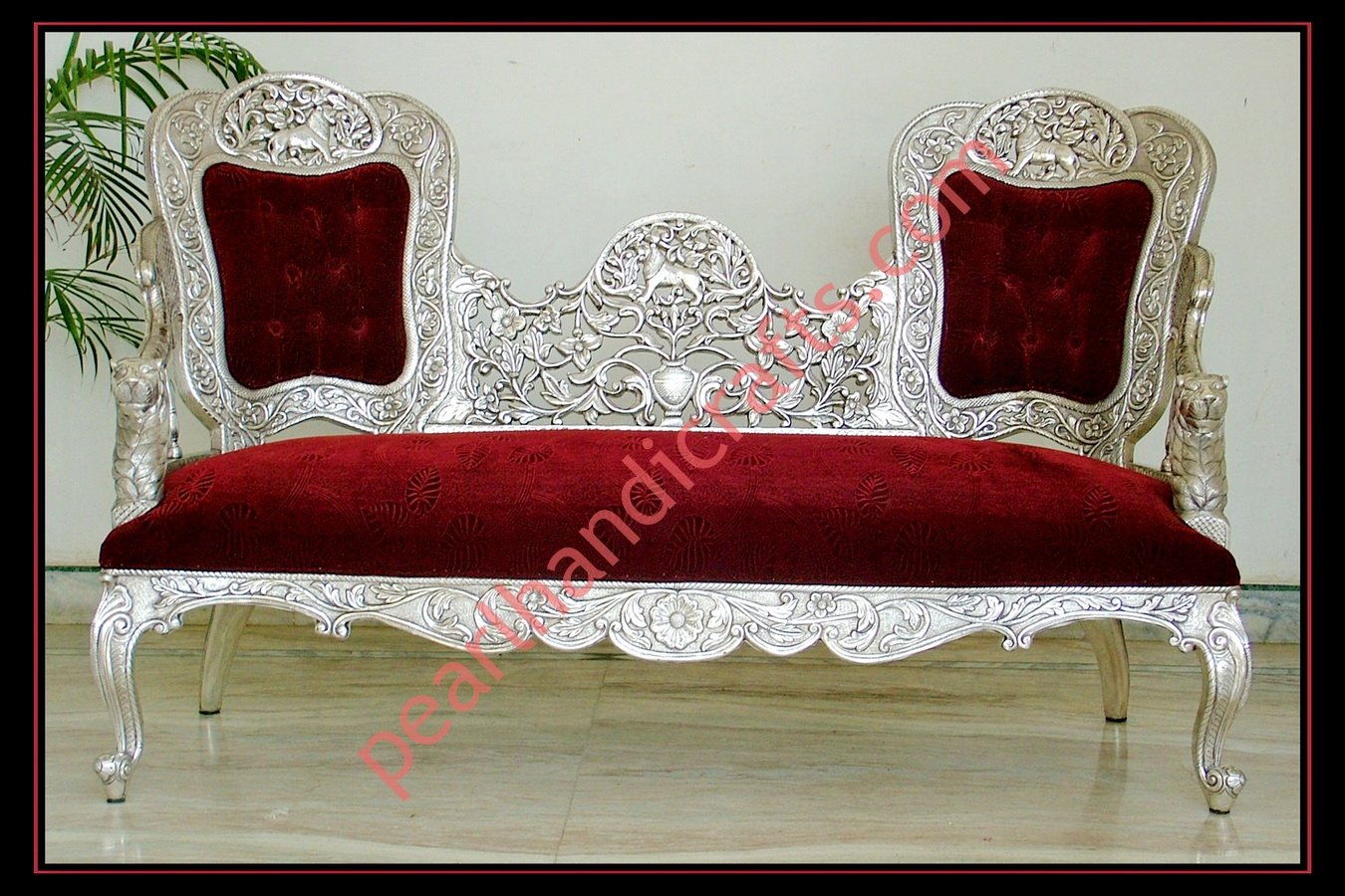 steel sofa set online chennai black and red sectional metal carved wood for home pearl handicrafts