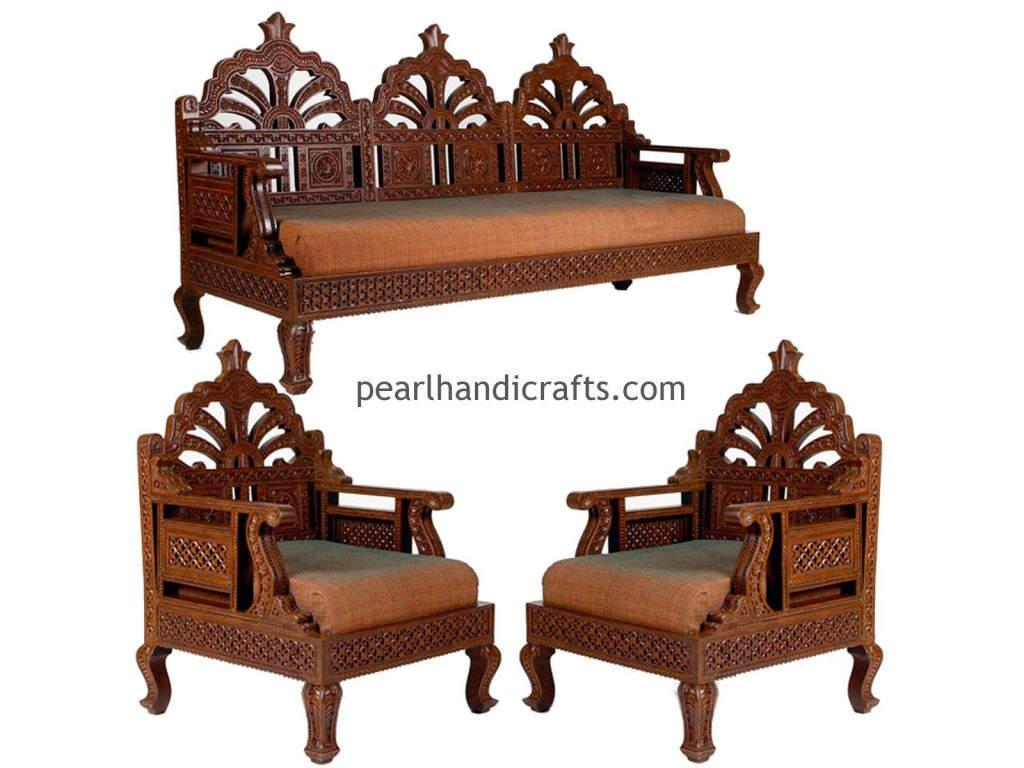 indian style sofa set designs palliser leather bed carving circular rajasthani traditional teak wood