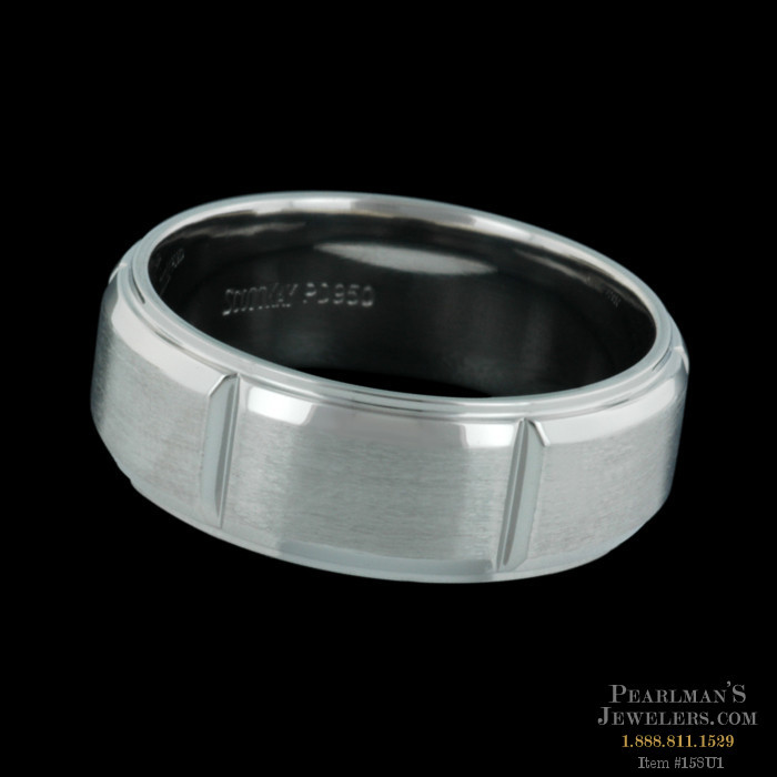 Scott Kay for Men Jewelry Mens V Cut Platinum Wedding Ring