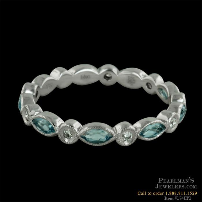 Beverley K Jewelry 18kt White Gold Diamond Amp Aquamarine