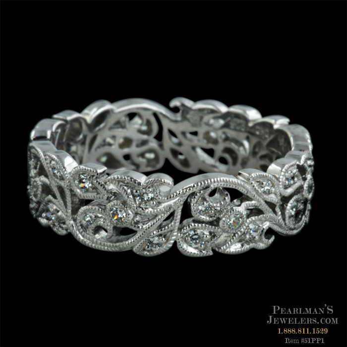 Beverley K Jewelry 18kt White Gold Diamond Floral Wedding Band