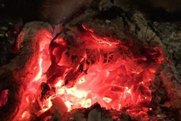 glowing embers with wolves