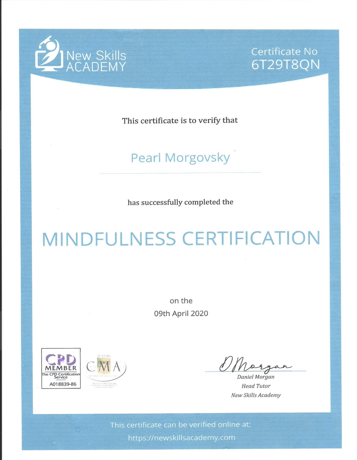CoC New Skills Academy : Mindfulness Certifcation