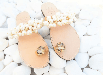 pearl wedding flat sandals