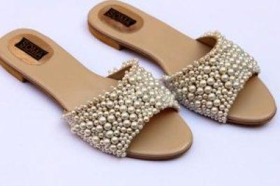 pearl embellished wedding flats