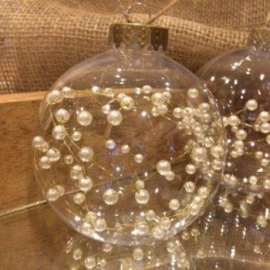 pearl christmas globe ornament