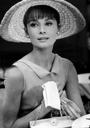 Audrey Hepburn wearing real pearl earrings