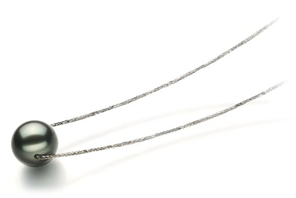 black pearl pendant necklace with silver chain