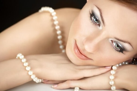 2. Real Pearls on Woman's neck