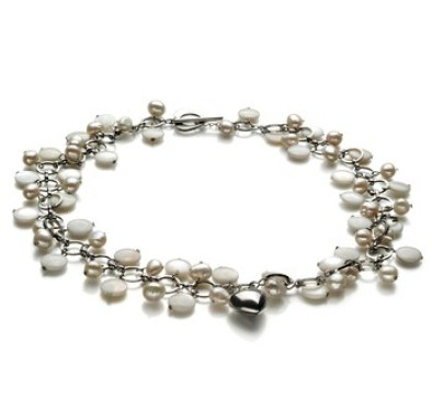 Charm freshwater multi strand pearl necklace
