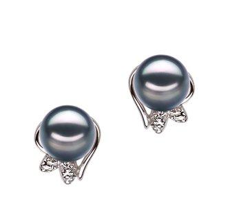 pearl stud earrings in black
