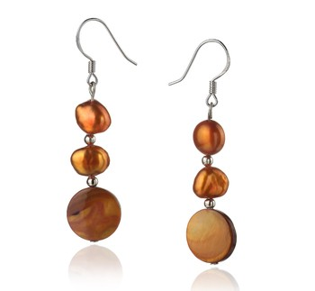 pearl drop earrings in brown