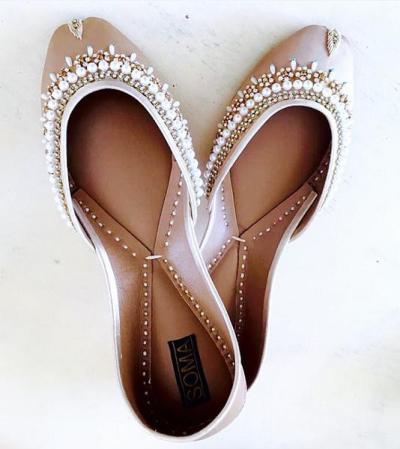 pearl encrusted wedding flats