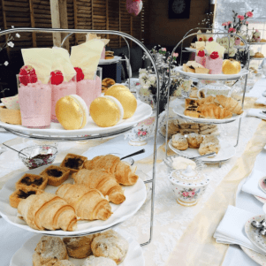 high tea party table setting