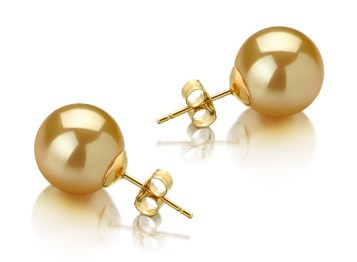 golden south sea pearl earring studs