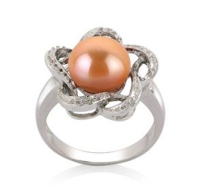 pink pearl rings for women