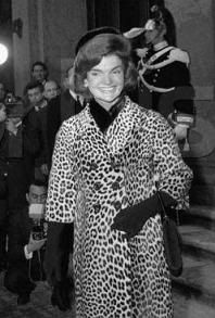 jackie o wearing animal print coat