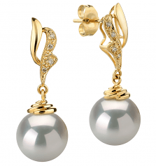 white pearl earrings with gold