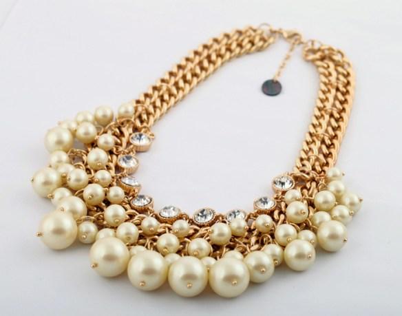 gold chain pearl choker