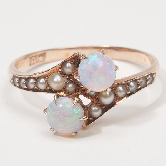 wedding ring with pearls and diamonds