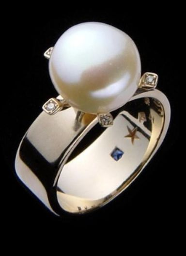 wedding pearl ring in art deco style