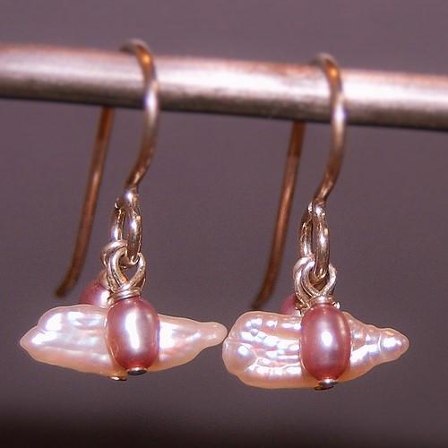 pink Baroque pearl earrings