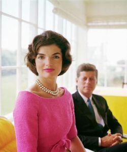 Jackie Kennedy wearing pearls