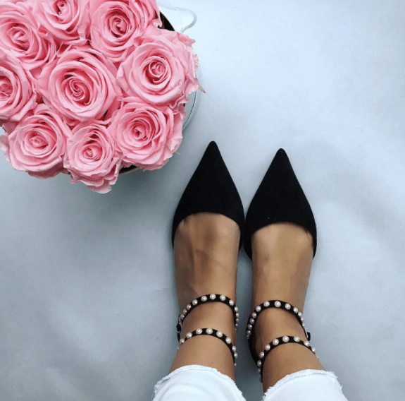 black sandals with pearls