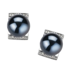 black cultured pearl earrings with diamonds
