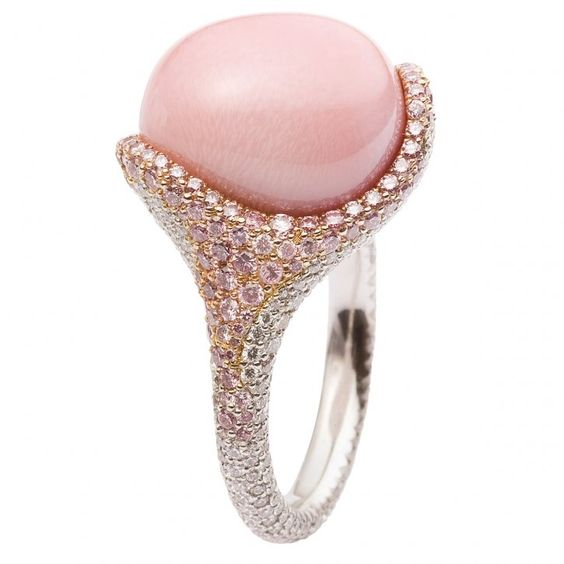 pink wedding ring with diamonds and pearls