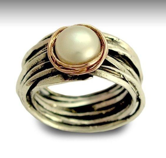 pearl wedding ring in silver setting