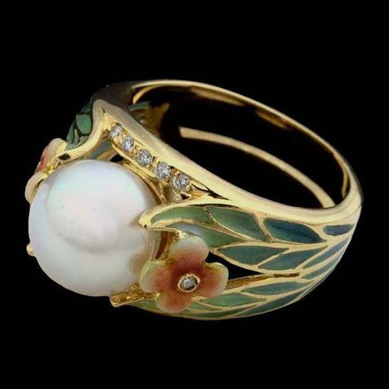 art nouveau pearl ring - Pearl Wedding Ring