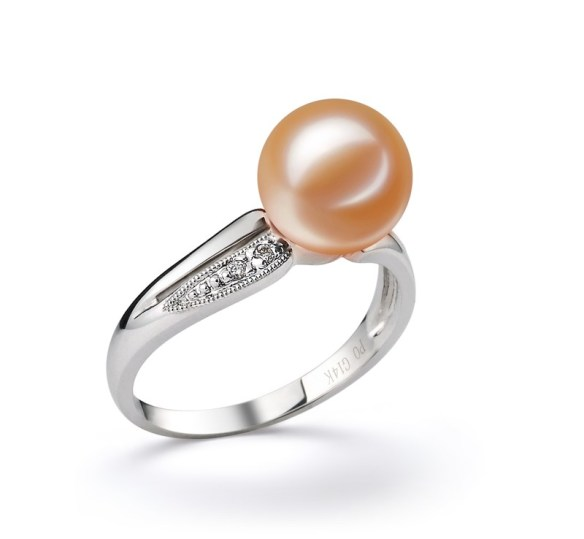 pink wedding pearl ring - Pearl Wedding Rings