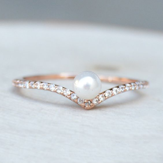 16 pearl wedding rings a unique collection pearls only for Pearl engagement ring with wedding band
