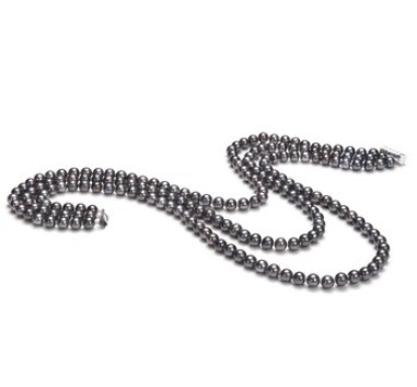 Black freshwater multi strand pearl necklace