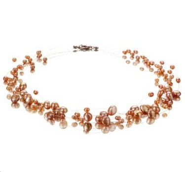 Illusion pink freshwater multi strand pearl necklace