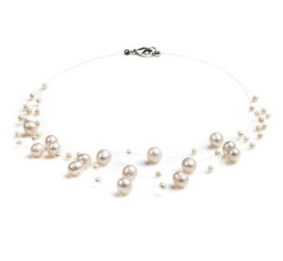 white freshwater and nylon multi strand pearl necklace