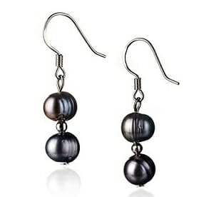 Black Keshi Pearl Earrings