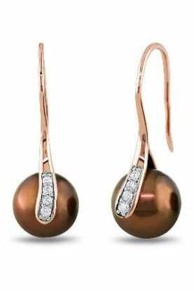 chocolate pearl earrings with diamonds