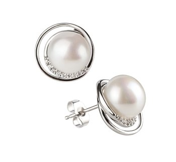 pearl stud earrings in white color