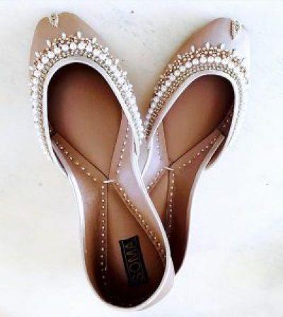 pearl encrusted wedding flats