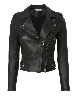black clothing item black leather jacket biker style