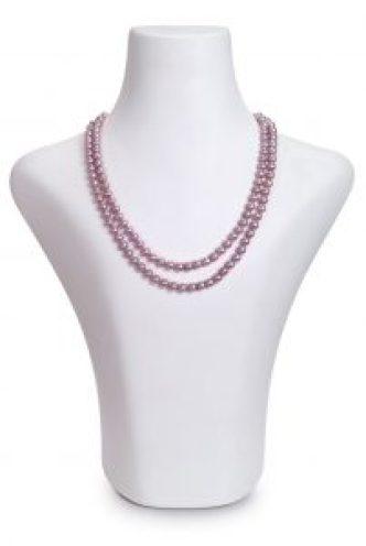 Doppelstrang Perlenkette in Lavendel